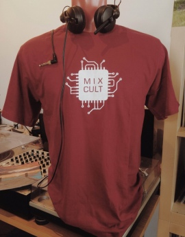 MixCult T-Shirt - White on Red [Handmade]